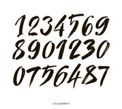Vector set of calligraphic acrylic or ink numbers Royalty Free Stock Photography