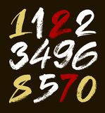 Vector set of calligraphic acrylic or ink numbers. ABC for your design. Brush Style Hand Drawn Alphabet Font Vector Illustration