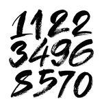 Vector set of calligraphic acrylic or ink numbers, brush lettering Royalty Free Stock Photography