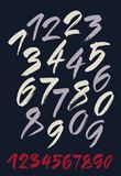 Vector set of calligraphic acrylic or ink numbers. Dark background. Royalty Free Stock Photography
