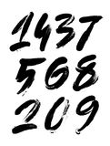 Vector set of calligraphic acrylic or ink numbers, finger lettering Royalty Free Stock Image