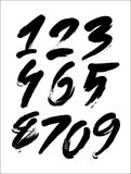 Vector set of calligraphic acrylic or ink numbers, finger lettering Stock Images