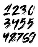 Vector set of calligraphic acrylic or ink numbers, finger lettering Royalty Free Stock Photo