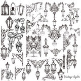 Vector set of calligraphic decorative elements and street lights Royalty Free Stock Images