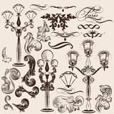 Vector set of calligraphic decorative elements and street lights royalty free illustration
