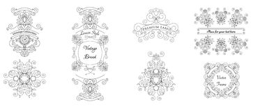 Vector set of calligraphic design elements - frames and labels. Royalty Free Stock Images