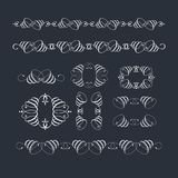 Vector set of calligraphic design elements and page decor. Vector set of calligraphic design elements and page decor Royalty Free Stock Photos