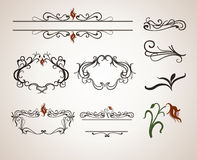 Vector set. Calligraphic design elements and page decoration Vector Illustration