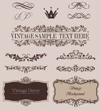 Vector Set of Calligraphic Design Elements and Page Decoration Dividers.  Royalty Free Stock Photos