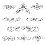Vector set of calligraphic design elements and page decorations. Set collection of calligraphic elements and page decorations.Can be used for decorate cards Stock Photos