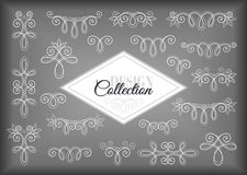 Vector Set of Calligraphic Design Elements and Page Decorations. Collection of Linear Borders. Vintage Deco Style Royalty Free Stock Images