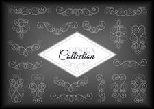 Vector Set of Calligraphic Design Elements and Page Decorations. Collection of Linear Borders. Vintage Deco Style Stock Photos