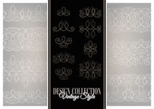 Vector Set of Calligraphic Design Elements and Page Decorations. Collection of Linear Borders. Vintage Deco Style Stock Images