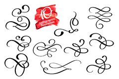 Vector set of calligraphic design flourish elements and page decorations. Elegant collection of hand drawn swirls and Stock Photo
