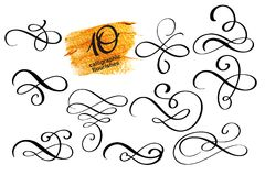 Vector set of calligraphic design flourish elements. And page decorations. Elegant collection of hand drawn swirls and curls for your design royalty free illustration