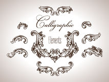 Vector set of calligraphic elements in antique style Royalty Free Stock Photography