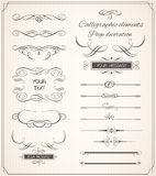 Vector set of calligraphic elements for design. Calligraphic vector Stock Photo