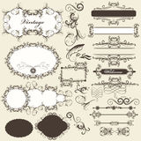 Calligraphic design elements and page decorations set. Vector set of calligraphic elements for design. Calligraphic vector Stock Photography