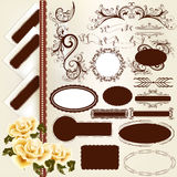 Set of vintage design elements and page decorations Stock Photo