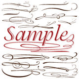 Vector set of calligraphic elements for design inscriptions in r Stock Photos