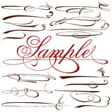 Vector set of calligraphic elements for design inscriptions in r Royalty Free Stock Photos