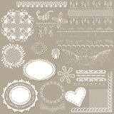 Collection of vector filigree white lace for design. Vector set of calligraphic elements or lace for design. Calligraphic vector vector illustration