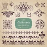 Calligraphic design elements and page decoration vector set royalty free stock photos
