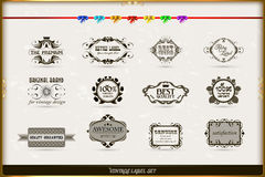 Vector set of calligraphic and floral design element Royalty Free Stock Photo