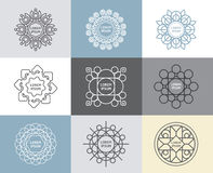 Vector set of calligraphic,flower abstract templates concept. Royalty Free Stock Photos