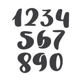 Vector set of calligraphic ink numbers. ABC for your design, brush lettering, Handwritten brush style modern cursive royalty free illustration