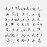 Vector set of calligraphic letters R, handwritten with pointed nib, decorated with flourishes and decorative elements. Isolated on Stock Photography