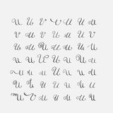 Vector set of calligraphic letters U, handwritten with pointed nib, decorated  Royalty Free Stock Photo