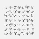 Vector set of calligraphic letters W, handwritten with pointed nib, decorated  Stock Images