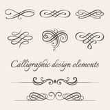 Vector set of calligraphic and page decoration design elements. Royalty Free Stock Photography