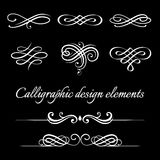 Vector set of calligraphic and page decoration design elements. Royalty Free Stock Photo