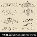 Vector set of calligraphic and page decoration design elements. Elegant elements for your design Royalty Free Stock Images