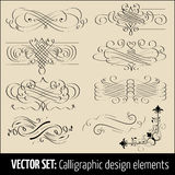 Vector set of calligraphic and page decoration design elements. Elegant elements for your design Royalty Free Stock Photo
