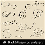 Vector set of calligraphic and page decoration design elements. Elegant elements for your design Royalty Free Stock Image