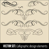 Vector set of calligraphic and page decoration design elements. Elegant elements for your design Royalty Free Stock Photos