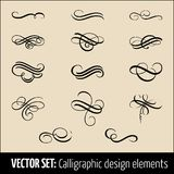 Vector set of calligraphic and page decoration design elements. Elegant elements for your design. Modern handwritten. Calligraphy elements. Vector Ink Stock Image