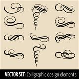 Vector set of calligraphic and page decoration design elements. Elegant elements for your design. Modern handwritten. Calligraphy elements. Vector Ink Stock Images
