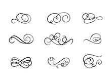 Vector Set of Calligraphic Swirl Shapes, Abstract Curl Lines, Black Ink Drawings. royalty free illustration