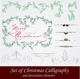 Vector set: calligraphic vintage design elements a. Nd page decoration. With snowflake, fir, holly and other christmas and New Year elements Royalty Free Stock Image