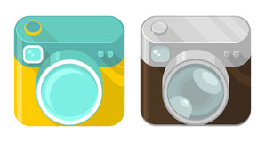 Vector set of camera icons. In modern and vintage design styles Stock Photos