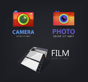 Vector set of camera logos, film icon Royalty Free Stock Photo