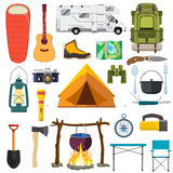 Vector set of camping elements. Stock Photo