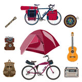 Vector set of camping equipment icons in flat style royalty free illustration