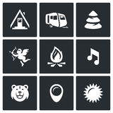 Vector Set of Camping Icons. Camp, Trailer, Forest, Romance, Fire, Music, Animal, Site, Weather. Stock Image