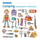 Vector set of camping icons. Stock Photo