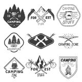 Vector set of camping labels in vintage style. Design elements, icons. Camp outdoor adventure concept illustration. Royalty Free Stock Images